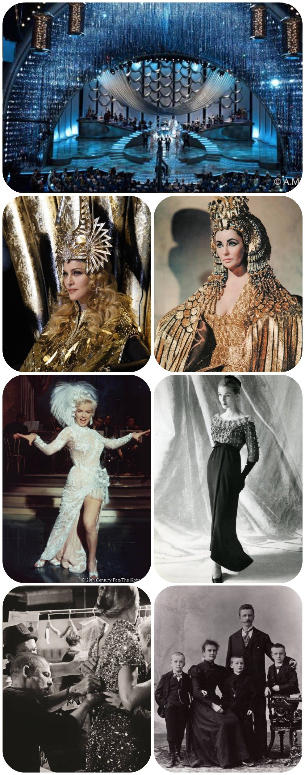 """No sentido horário: A cortina do Oscar 2010, com mais de 100.000 cristais, desenhado por David Rockwell; Elizabeth Taylor de Cleópatra, em 1963; Cristóbal Balenciaga Haute Couture, no outono 1958; Daniel Swarovski com sua família, em 1898; Alexander McQueen nos bastidores de seu desfile, noverão 2009;  Marilyn Monroe no filme """"There's No Business Like Show Business"""", em 1954; Madonna no """"Super Bowl XLVI Halftime Show"""" vestindo Givenchy Haute Couture, em 2012."""