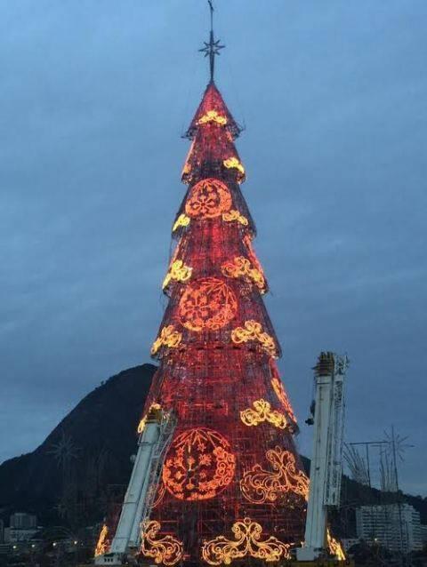 Primeiro teste de luz, na noite desta segunda-feira, da árvore de Natal da Bradesco Seguros: inauguração vai ser sábado (12/12) / Foto: divulgação