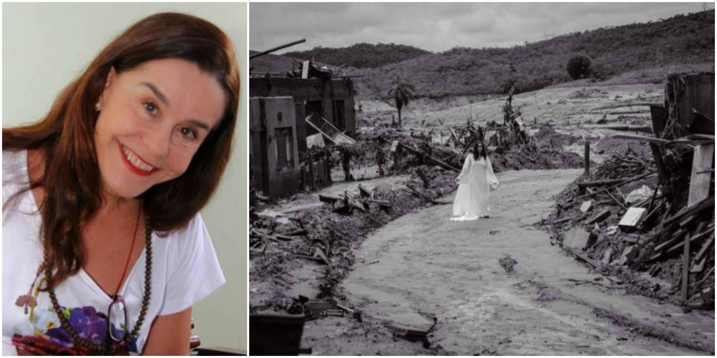 Lucélia numa cena do filme de Jura Capela, rodado em Bento Rodrigues, Mariana / Foto: divulgação