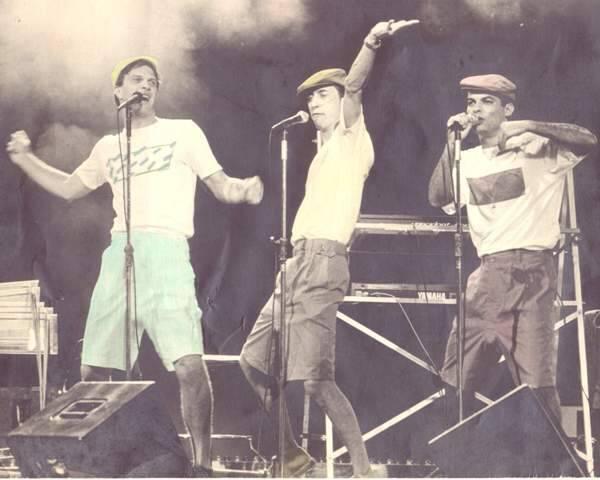 Pedro Bial, Luiz Petry e Claufe Rodrigues: o agora, no alto, e o antes, na década de 80 / Fotos: divulgação