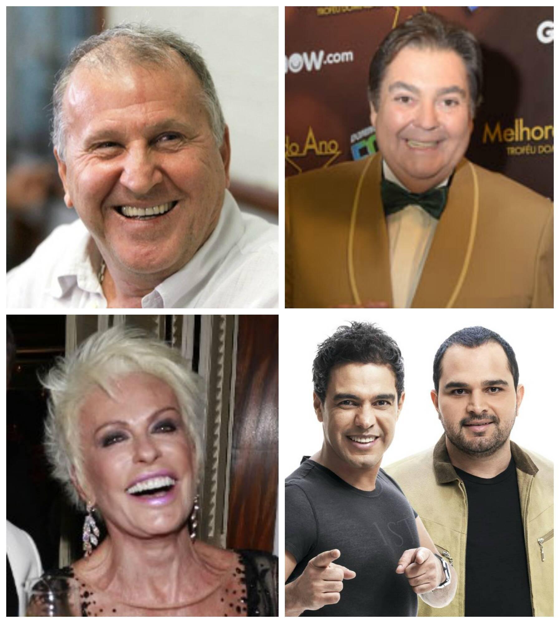 No sentido horário: Zico; Faustão; Zezé di Camargo e Luciano; Ana Maria Braga / Foto: reprodução do IG