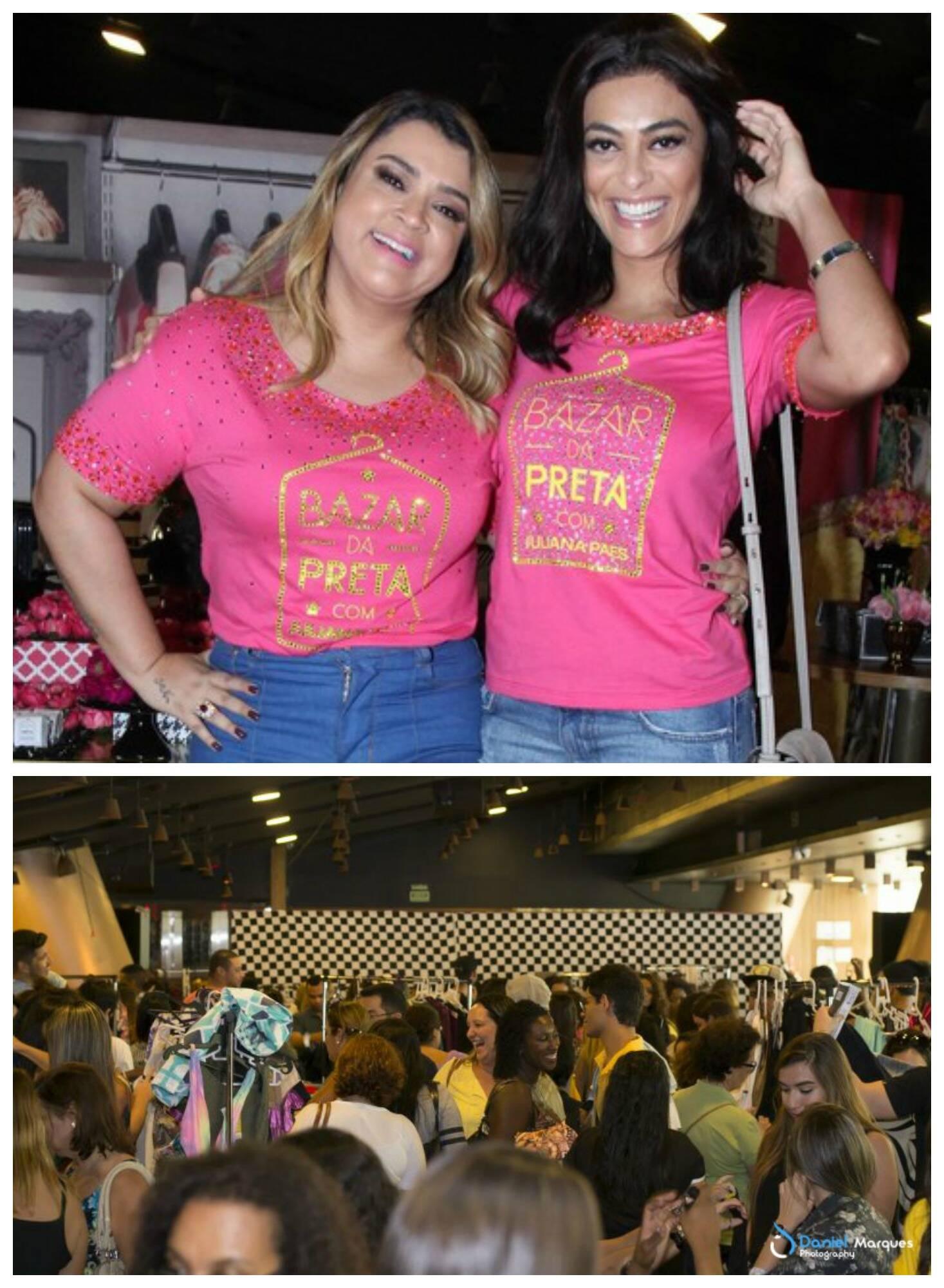 Na foto acima, Preta Gil e Juliana Paes; nesta, as clientes comprando no bazar / Fotos: