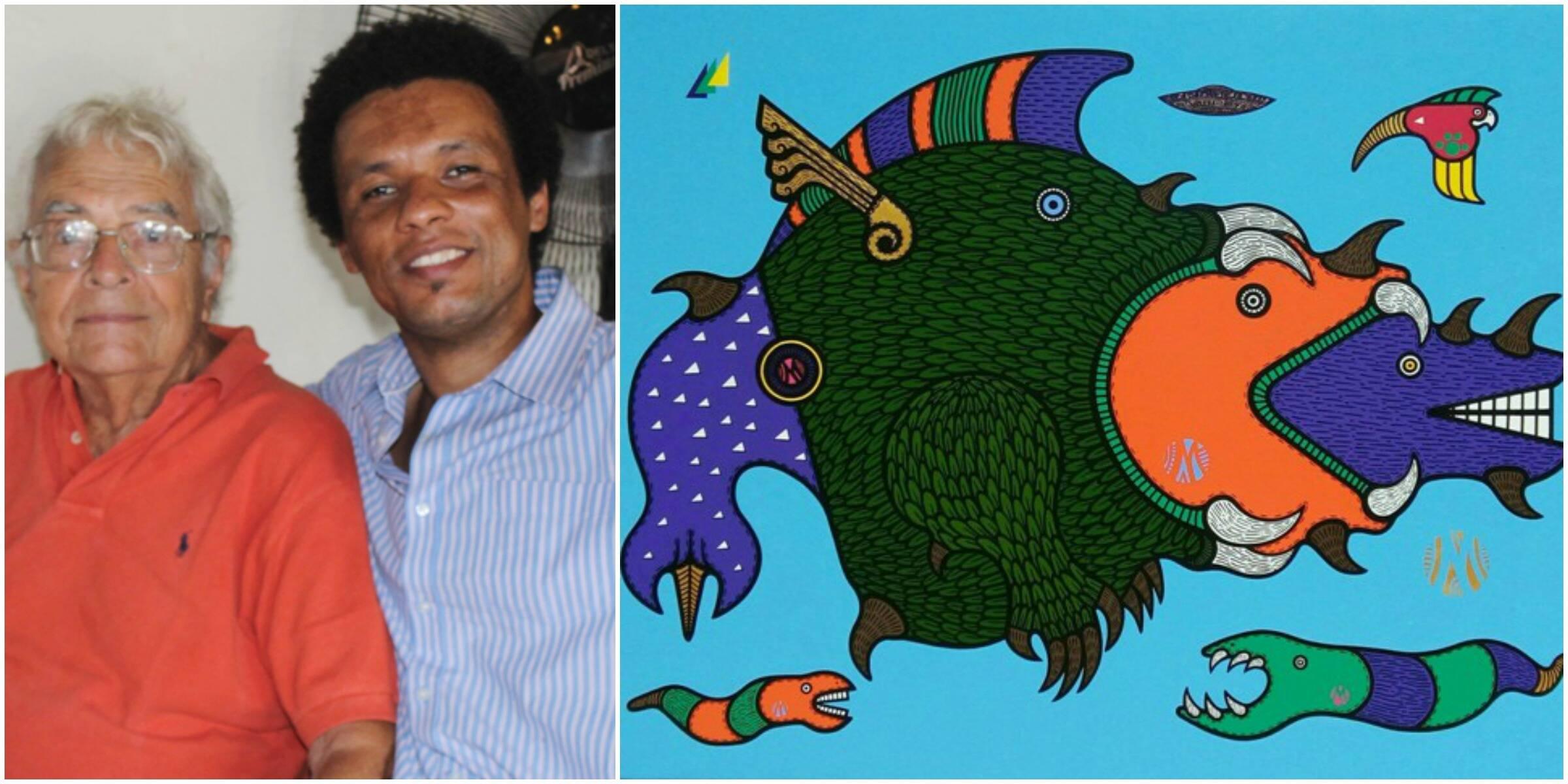 O colecionador Gilberto Chateaubriand e o artista plástico Marcos de Oliveira; ao lado, um dos quadros do baiano / Fotos: divulgação