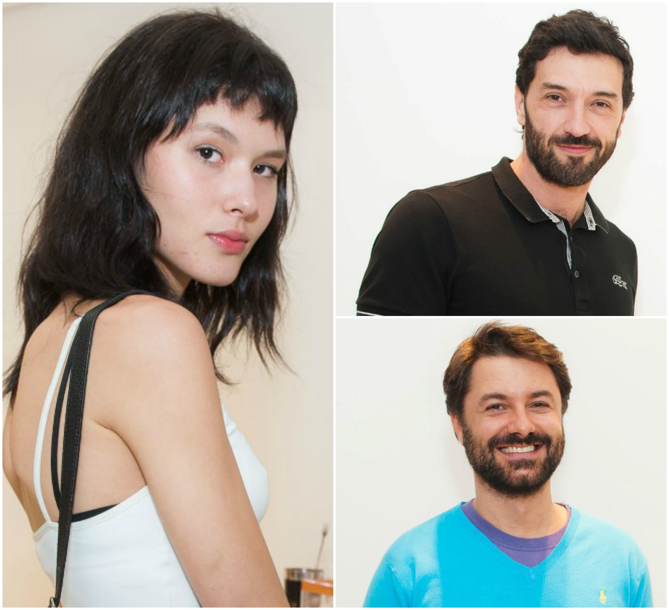 No alto, Reinaldo Lourenço, à esquerda; ao lado, o consultor de moda Raphael Mendonça; acima, em sentido horário, a modelo Angélica Erthal,; o estilista Lorenzo Merlino; o artista plástico Gustavo von Ha / Fotos: divulgação