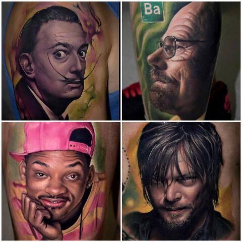 """O tatuador Victor Chil, no alto, e, acima, alguns exemplos do seu trabalho: em sentido horário, Salvador Dalí; O ator Bryan Crasuton, e Breaking Bad; o antor Norman Reedes, da série """"The Walkiing Dead""""; e Will Smith / Fotos: divulgação"""