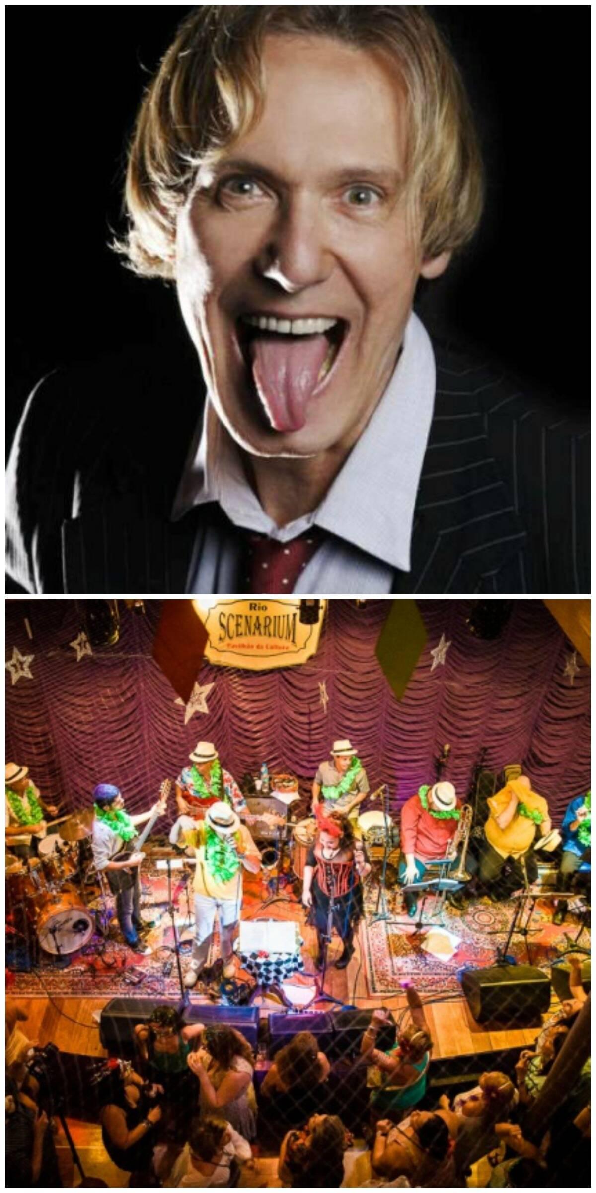 Eduardo Dussek, no alto, e um dos bailes do Rio Scenarium, no carnaval do ano passado: animação garantida / Fotos: divulgação