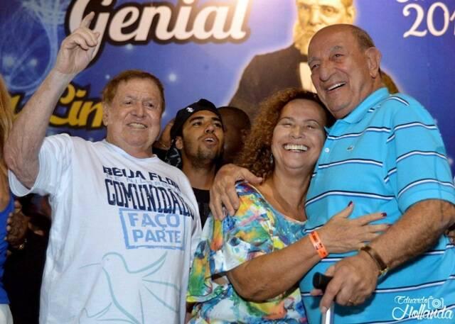 Boni de Oliveira, Sônia Nazário e Anizio Abrahão David: na quadra da Beija-Flor, no ensaio dessa quinta-feira / Foto: Eduardo Hollanda/ Juliana Palmer