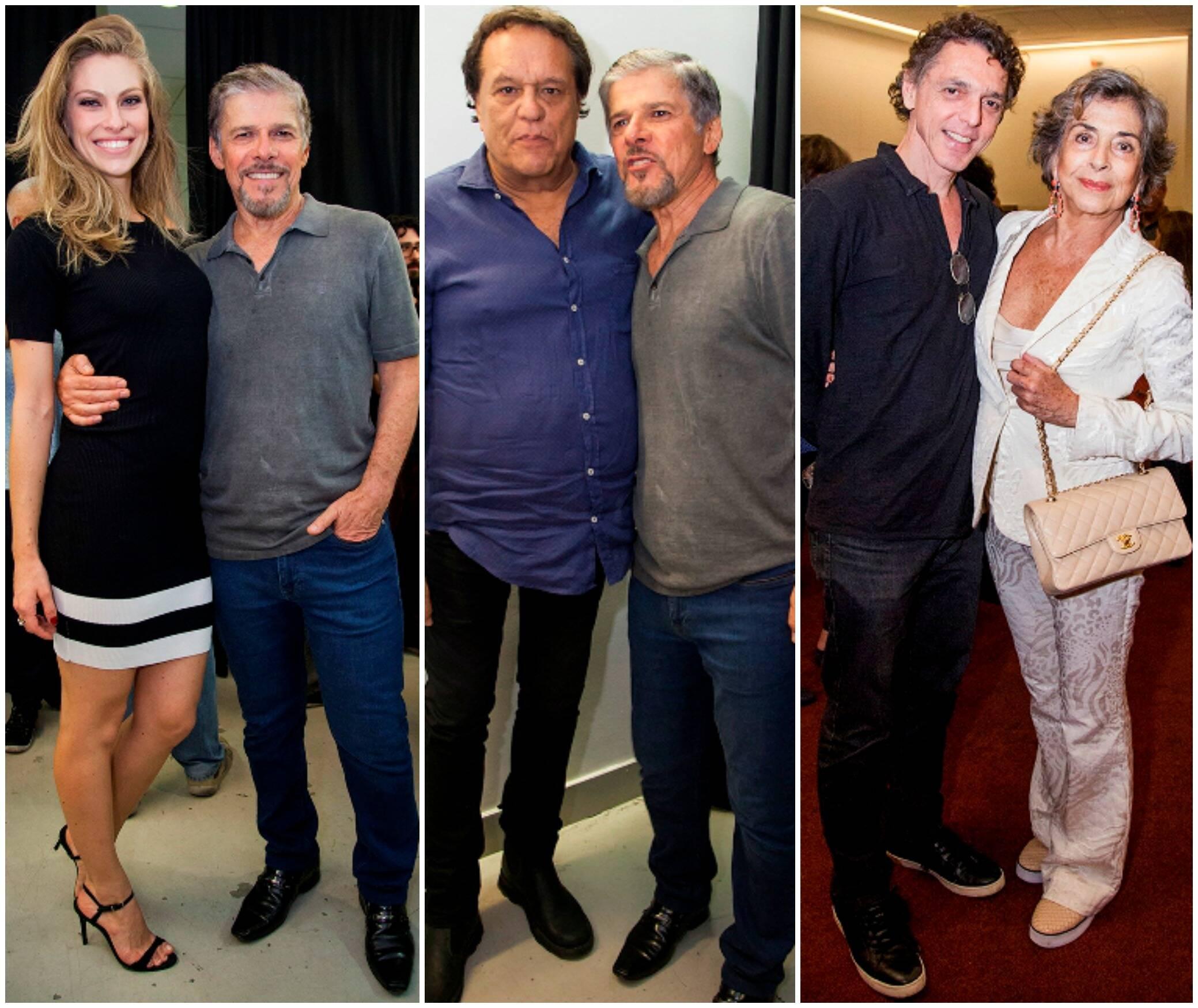 Lana Rhodes, atriz da peça, e José Mayer; Dennis Carvalho e José Mayer; Guilherme Leme e Betty Faria / Fotos: Artur Garção