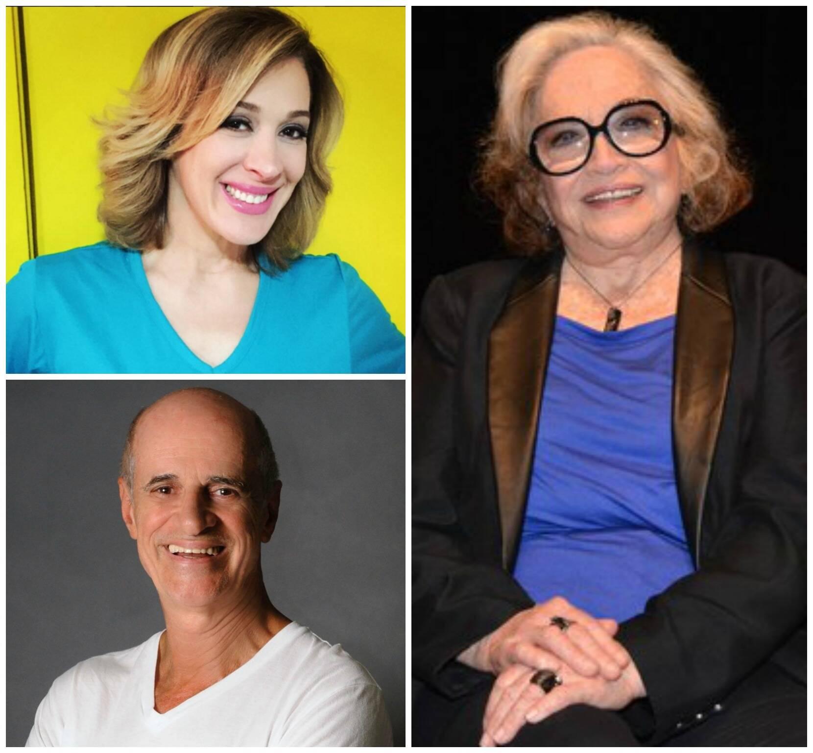Em sentido horário, Claudia Raia, Nathalia Timberg e Marcos Caruso: todos no Prêmio Cesgranrio, segunda-feira / Fotos: divulgação