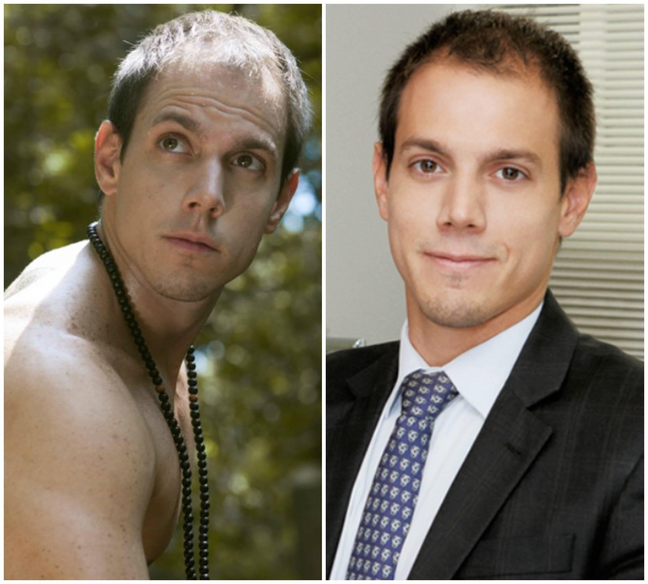 Rodrigo Duprat em duas versões: como praticante de ioga e, à direita, no seu consultório / Fotos: divulgação