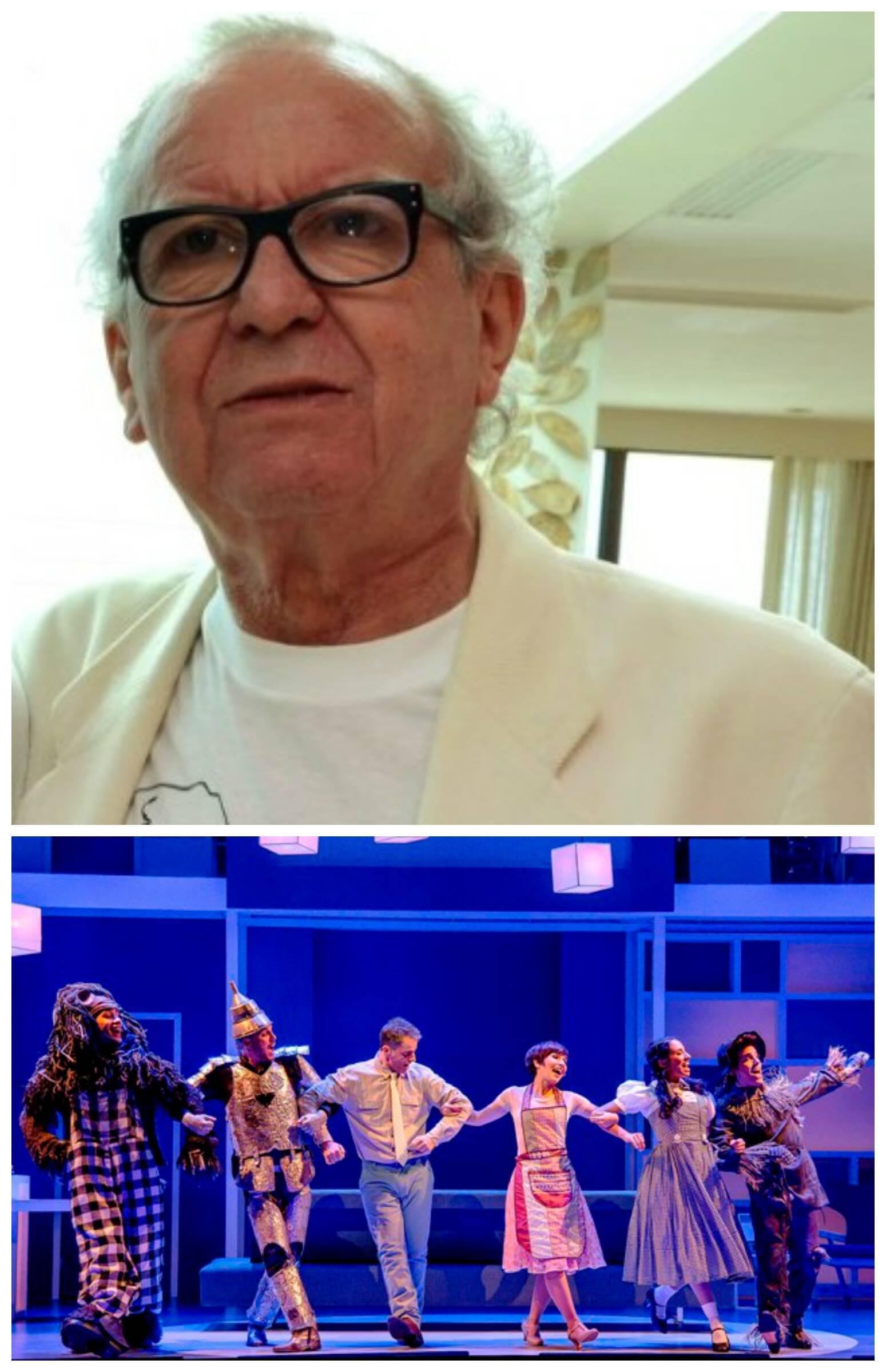 Washington Olivetto, no alto, e o elenco do musical em cena / Fotos: Cristina Granato e Caio Gallucci