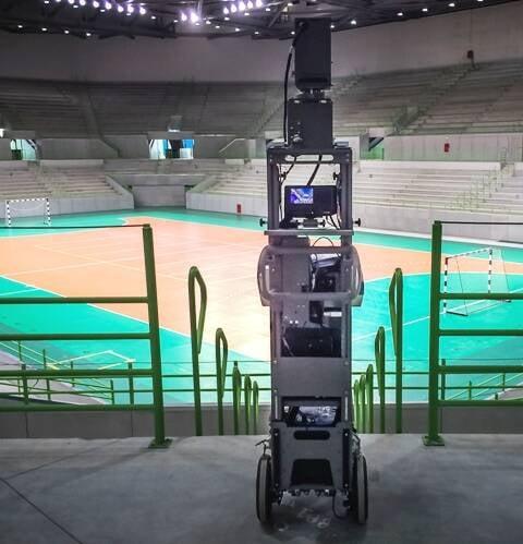 O Trolley, um carrinho com um sistema de câmeras, é um dos recursos do Google para registra o interior dos estádios, como vemos aqui na Arena do Futuro. no Parque Olímpico / Foto: divulgação