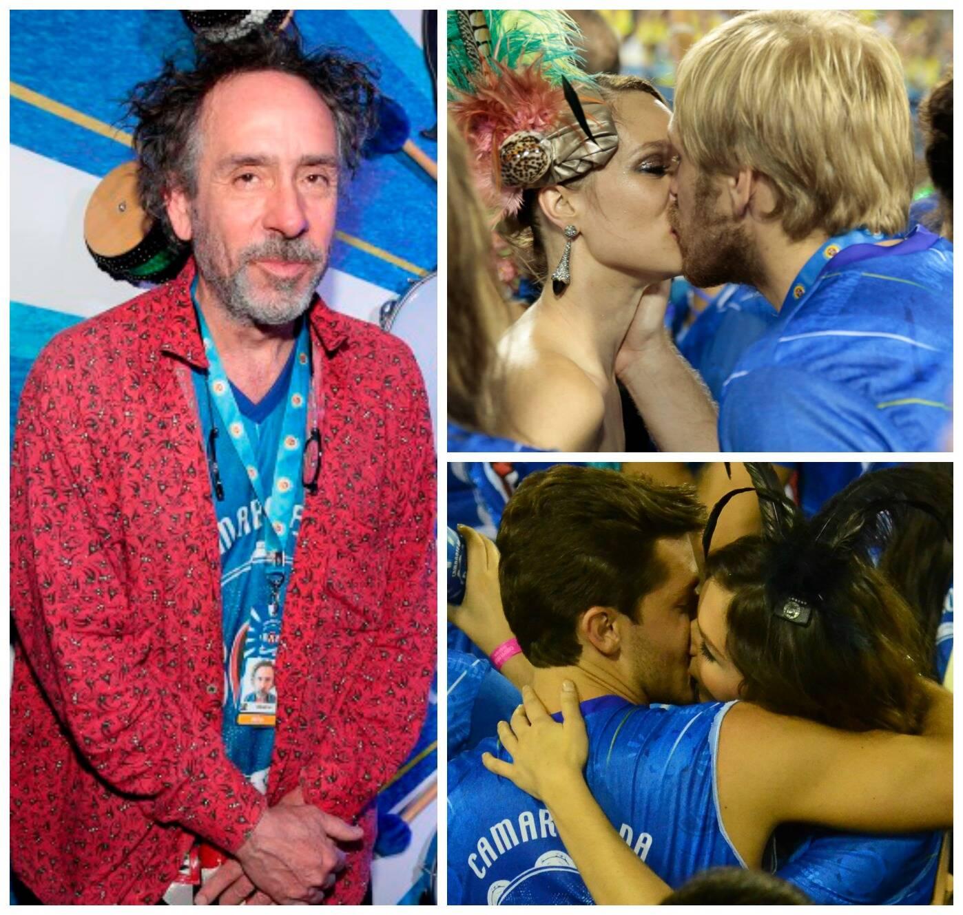 No sentido horário: Tim Burton; Mariana Ximenes aos beijos com um dos convidados do camarote; Klebber Toledo e Monica Iozzi / Fotos: Felipe Panfili
