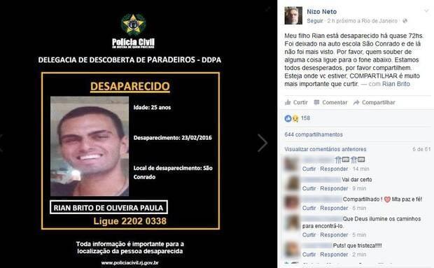 Rian Brito: desde que Nizo Neto, filho de Chico Anysio, publicou em sua página no Facebook que seu filho Rian Brito está desaparecido, segue campanha de compartilhamentos