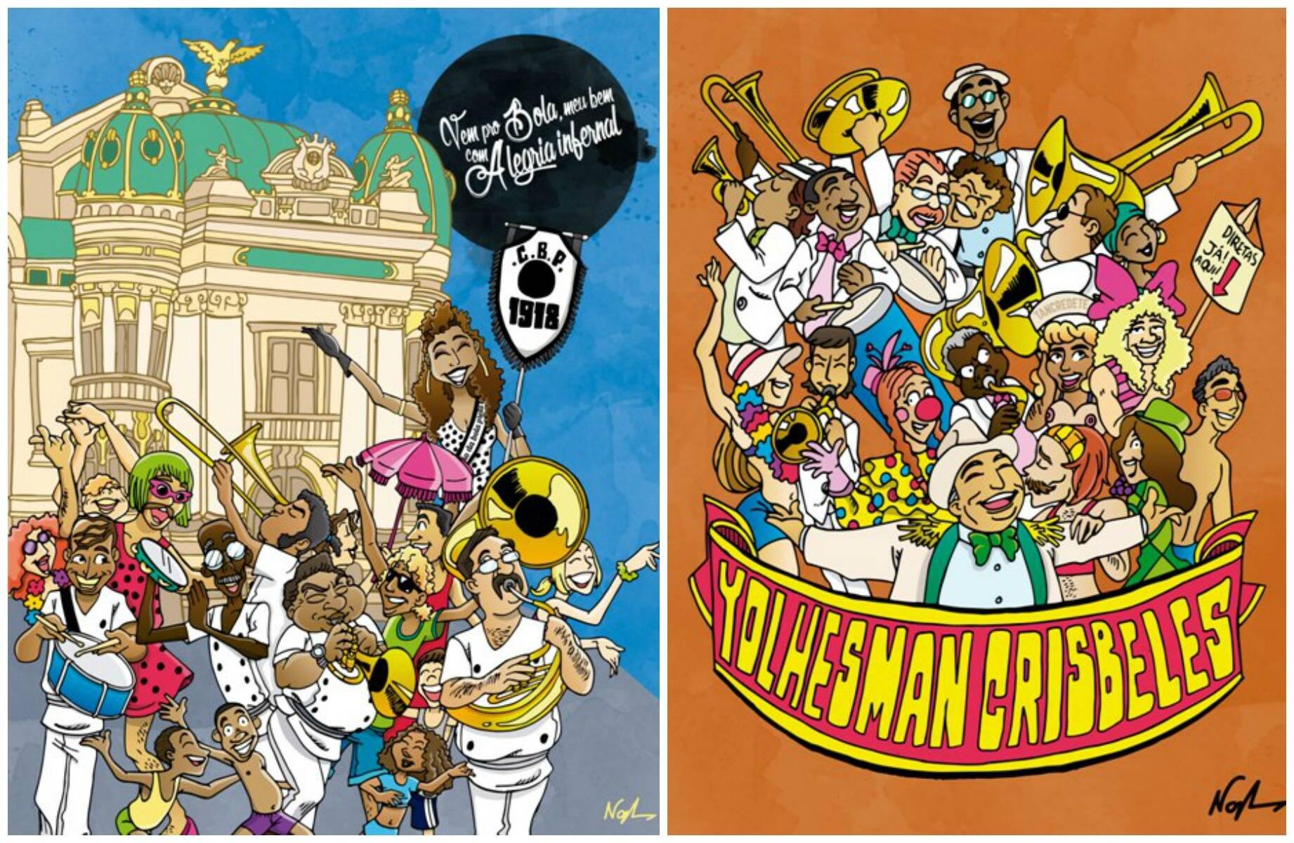 Desfiles da Beija-Flor e da Portela, do Cordão da Bola Preta e da Banda da Carmen Miranda: momentos do carnaval carioca da década de 80 / Fotos: divulgação