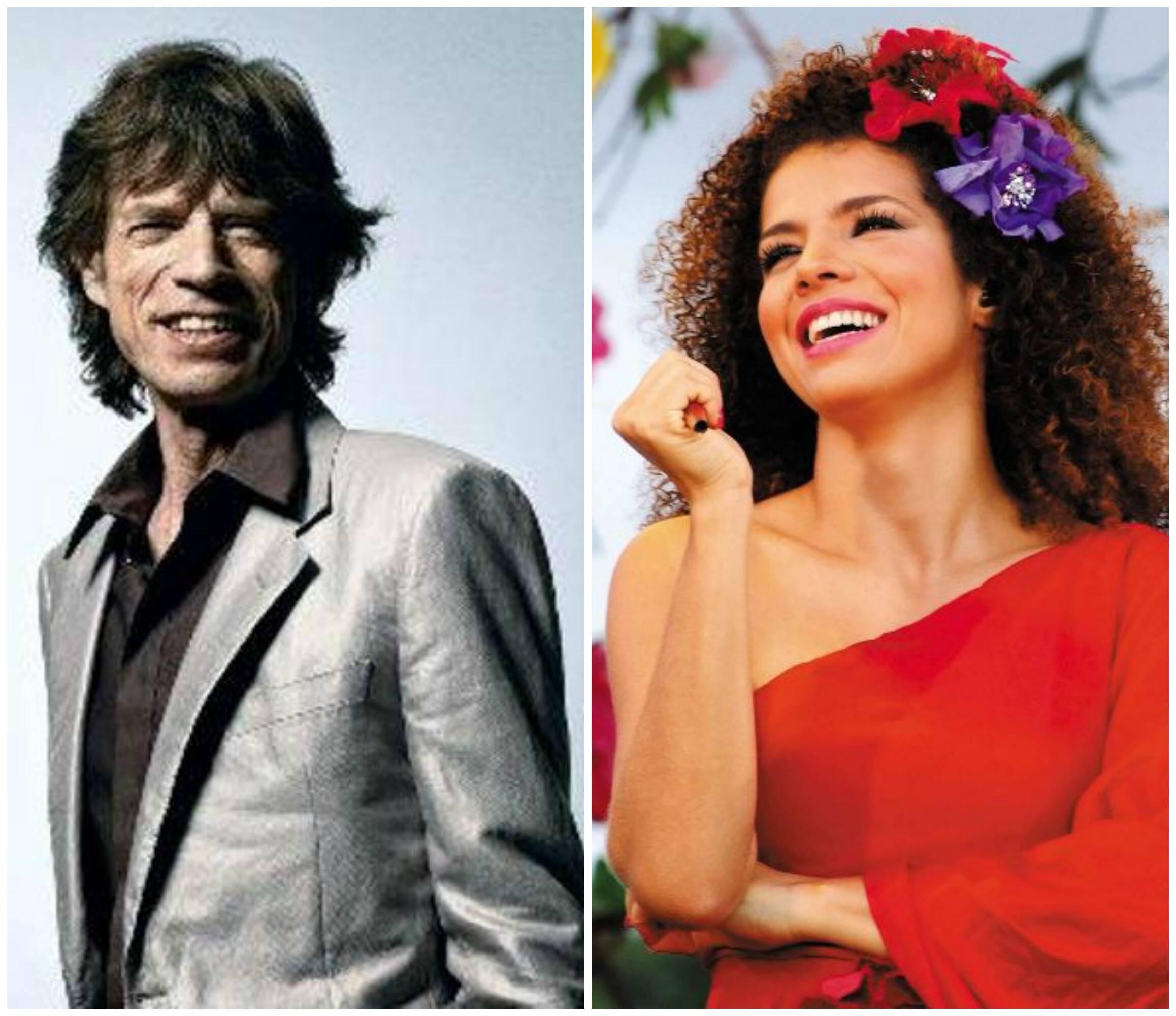 Mick Jagger e Vanessa da Mata: a cantora foi casada com o ator e fotógrafo Geraldo Pestalozzi, mas não gosta de falar sobre sua vida pessoal / Fotos: reprodução da internet