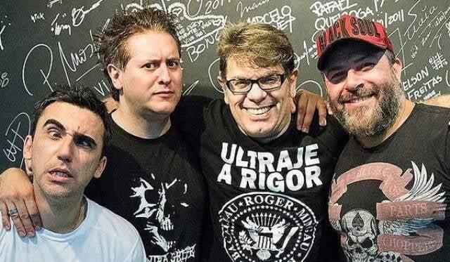 A formação atual do Ultraje: o baterista Bacalhau, o guitarrista Marcos Kleiner, Roger Moreira e o baixista Mingau / Foto: reprodução da  internet
