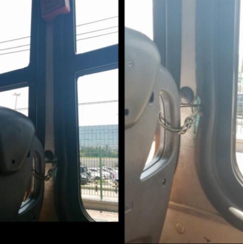 Janela de emergência amarrada com arame: segurança do carioca em ônibus ainda precisa ser muito melhorada / Foto: divulgação