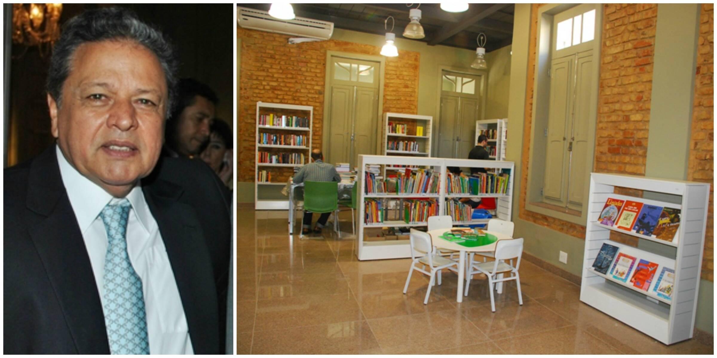Aloysio Teixeira e a biblioteca Anitta Porto Martins: tudo pronto para a inauguração, nesta terça-feira, às 10h/ Fotos: Armando Araújo e divulgação