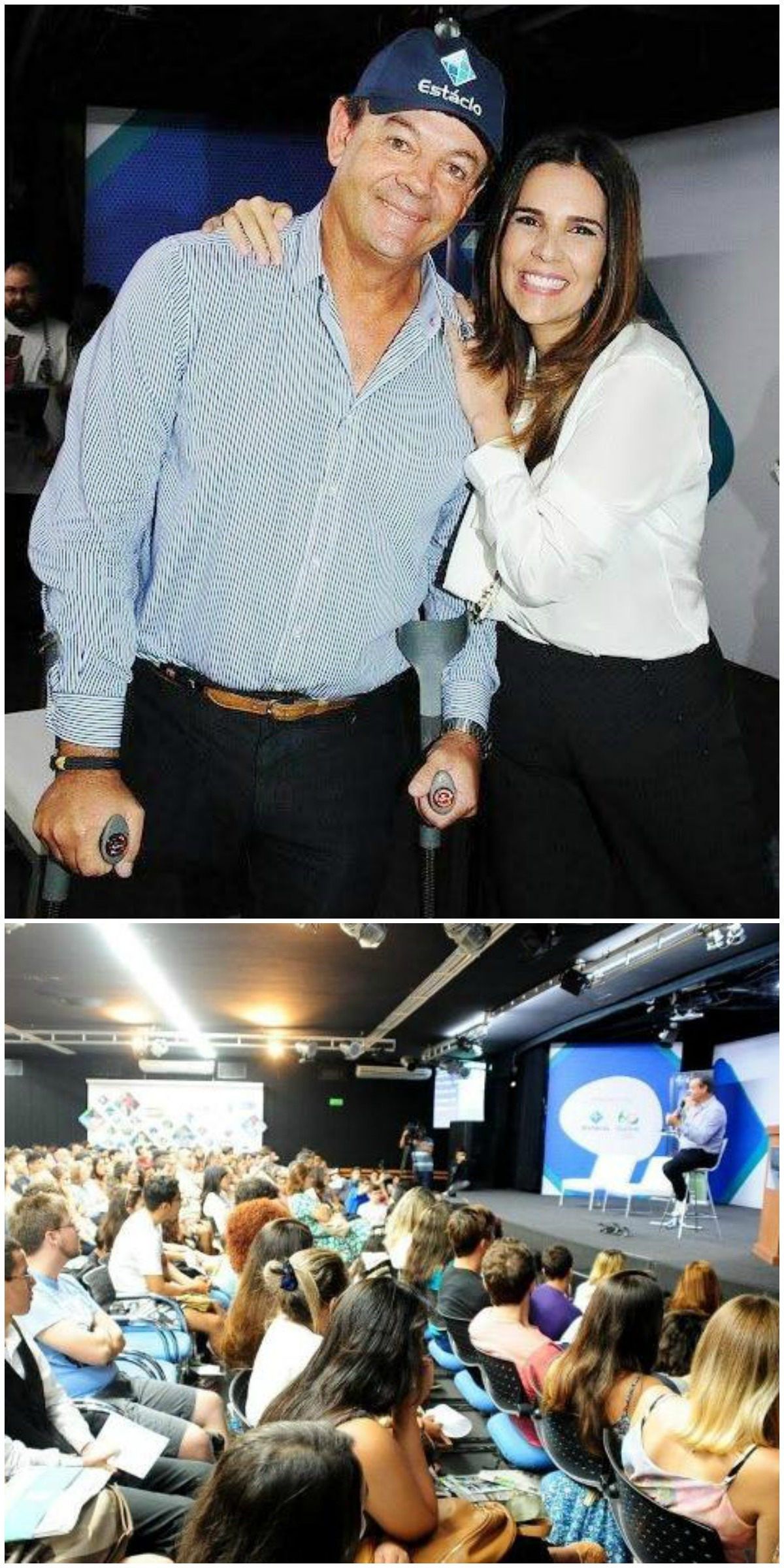 Lars Grael e a diretora da Estácio Claudia Romano, no alto; acima, a plateia de alunos da universidade / Fotos: Ana Colla