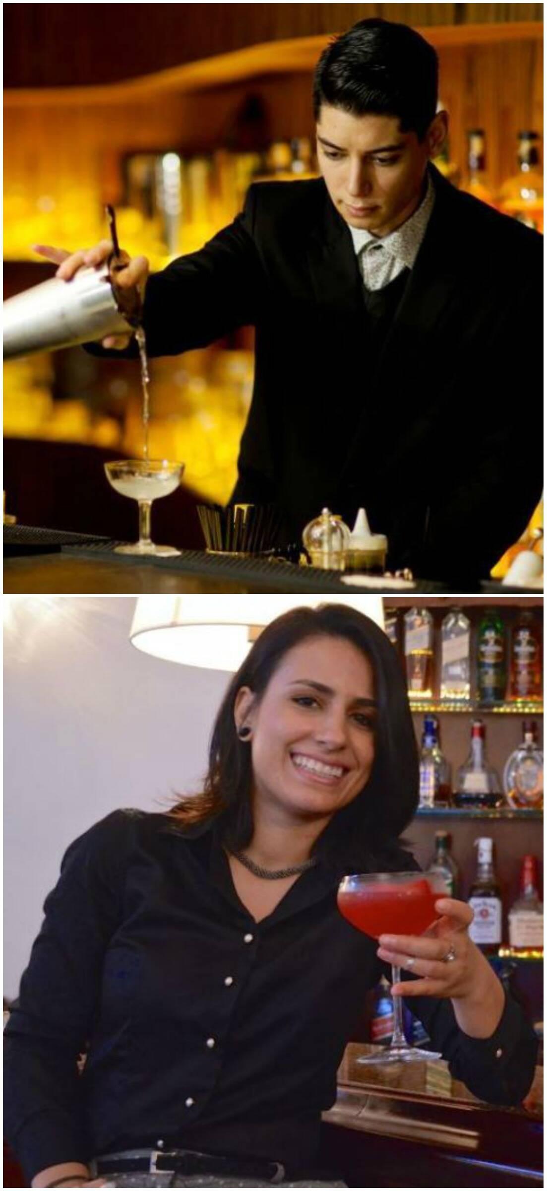 No alto, o bartender Kennedy Nascimento; acima, Jessica  / Fotos: Henrique Peron e divulgação