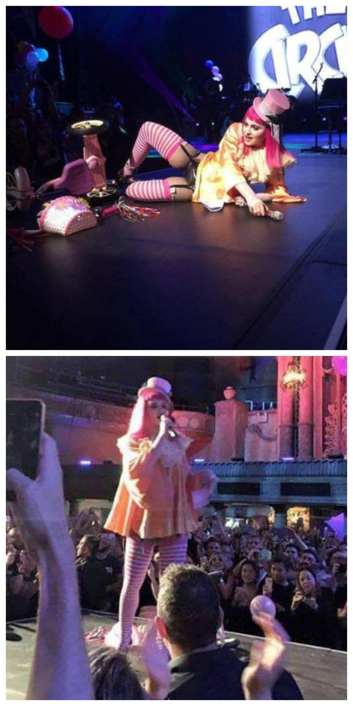 """Madonna, no alto, depois da """"queda"""" do triciclo no show do Forum Theater, em Melbourne, na Australia; acima, outro detalhe da apresentação desta quinta-feira / Fotos: reprodução da internet"""