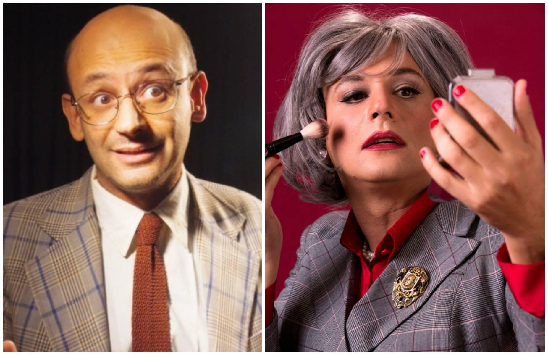 O ator Nilton Bicudo, antes e depois da transformação em Myrna: ele mesmo faz a própria maquiagem para as sessões de teatro / Fotos: reprodução da Internet e João Caldas