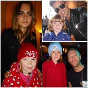 Em sentido horário, Olivia com a modelo Cara Delevingne; com Ricky Martin; e com Chris Martin, do Colplay / Fotos: reprodução do Instagram