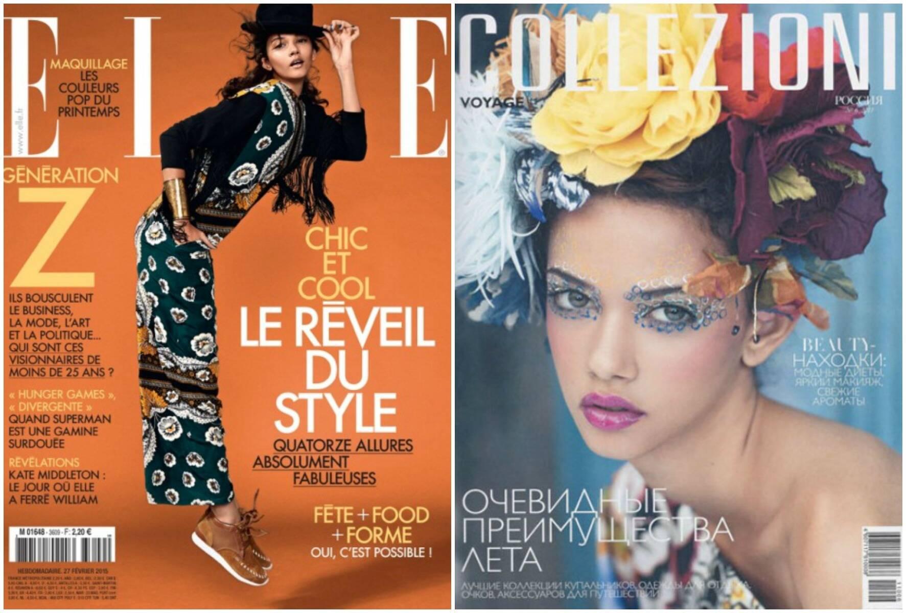 Quase irmãs: Marina Nery, à esquerda, e Rihanna, no alto: acima, duas das várias capas internacionais de revistas de moda em que Marina já apareceu / Fotos: reprodução da internet