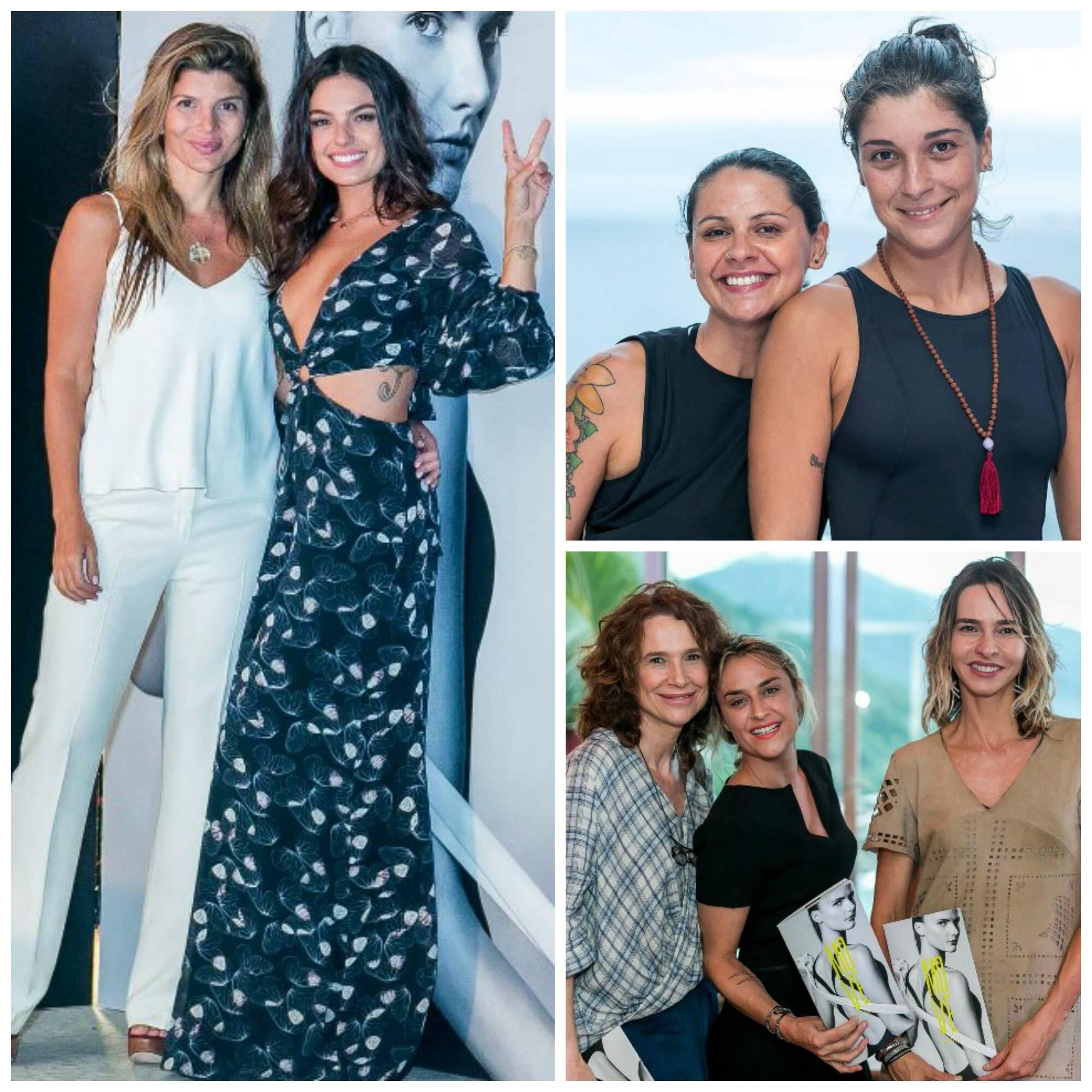 à esquerda, Claudia Jatahy e Isis Valverde; à direita Sa Souza e Ju Dominguez; Jackie Sperandio, Kiara Bianca e Zaza Piereck