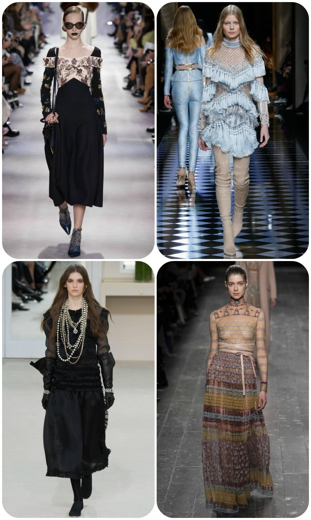 No alto: modelos das coleções Dior e Balmain; nesta foto: modelos das coleções Chanel e Valentino