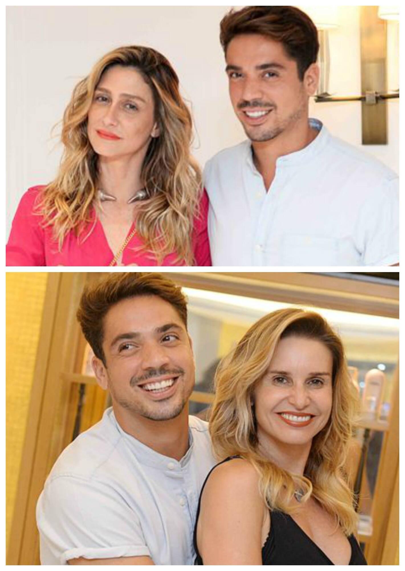 No alto, Amora Mautner com Felipe Freitas; nesta foto, o cabeleireiro com Paula Burlamaqui