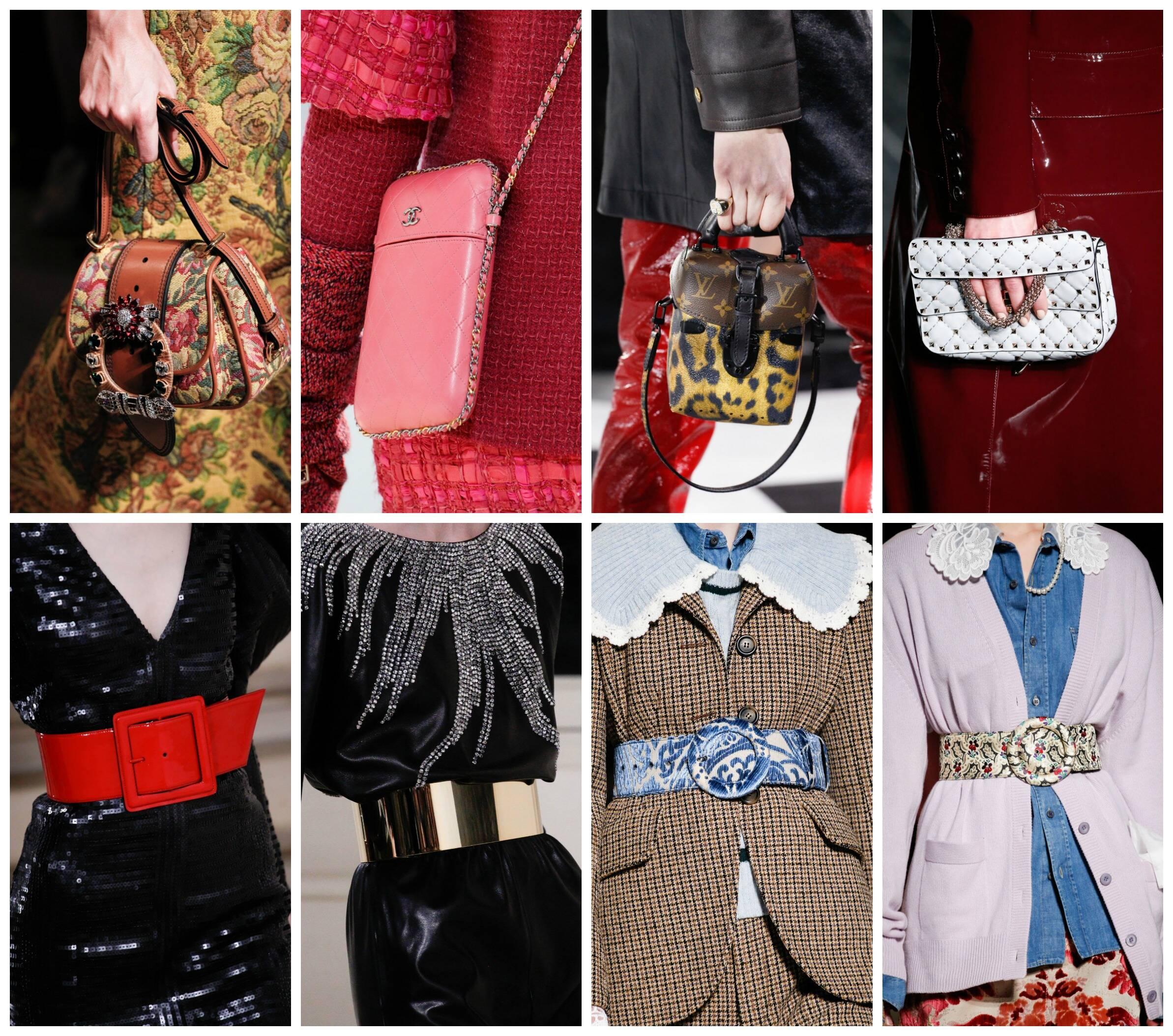 Em cima, na ordem em que aparecem, as bolsas da Miu-Miu, Chanel, Louis Vuitton e Valentino; nesta fileira, os cintos da Saint-Laurent, nas duas primeiras fotos e, em seguida, os cintos da Miu-Miu
