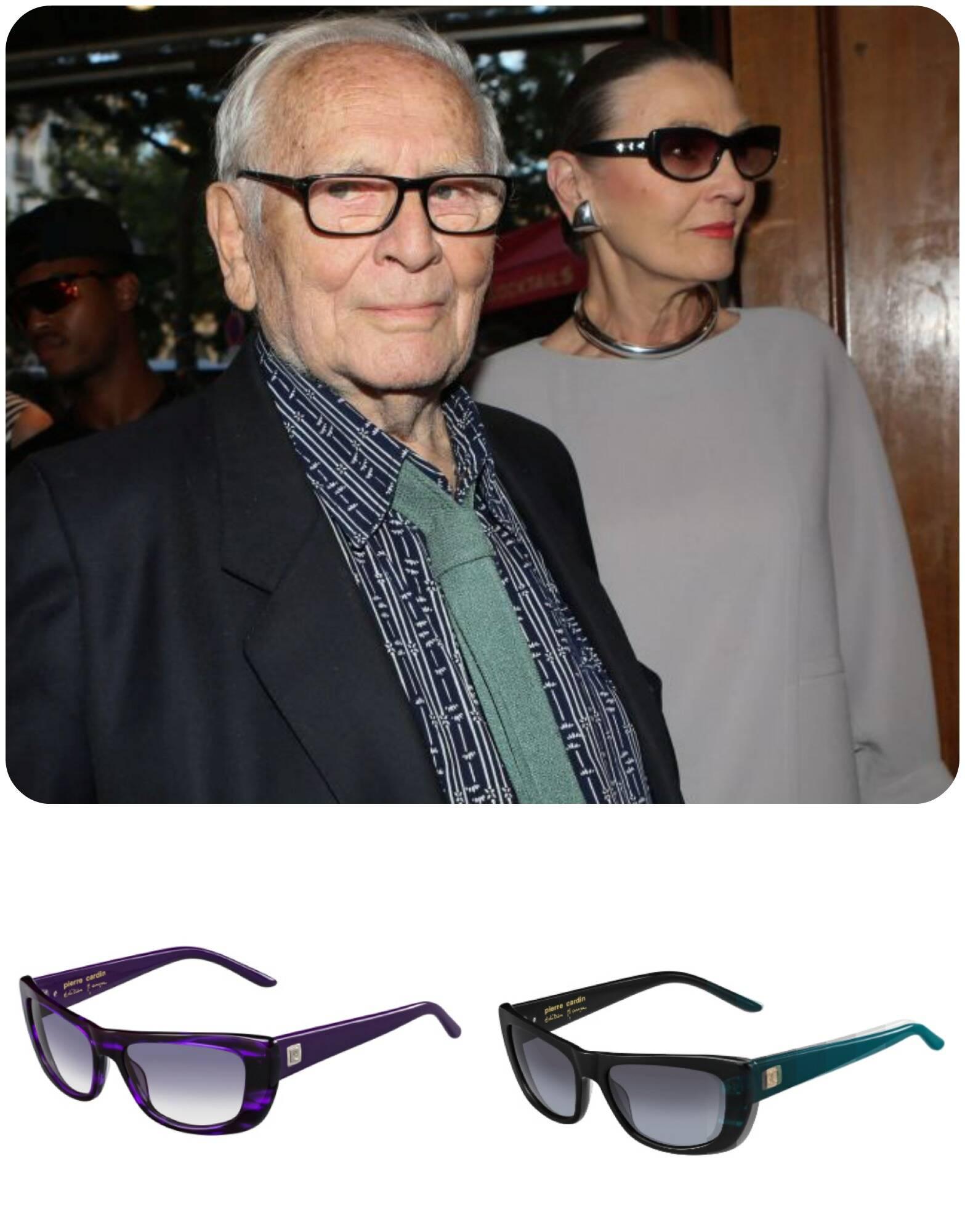 Pierre Cardin com a sua musa, Maryse Gaspard. Os óculos de sol na foto são parte da nova coleção do estilista, inspirada na elegância de Maryse