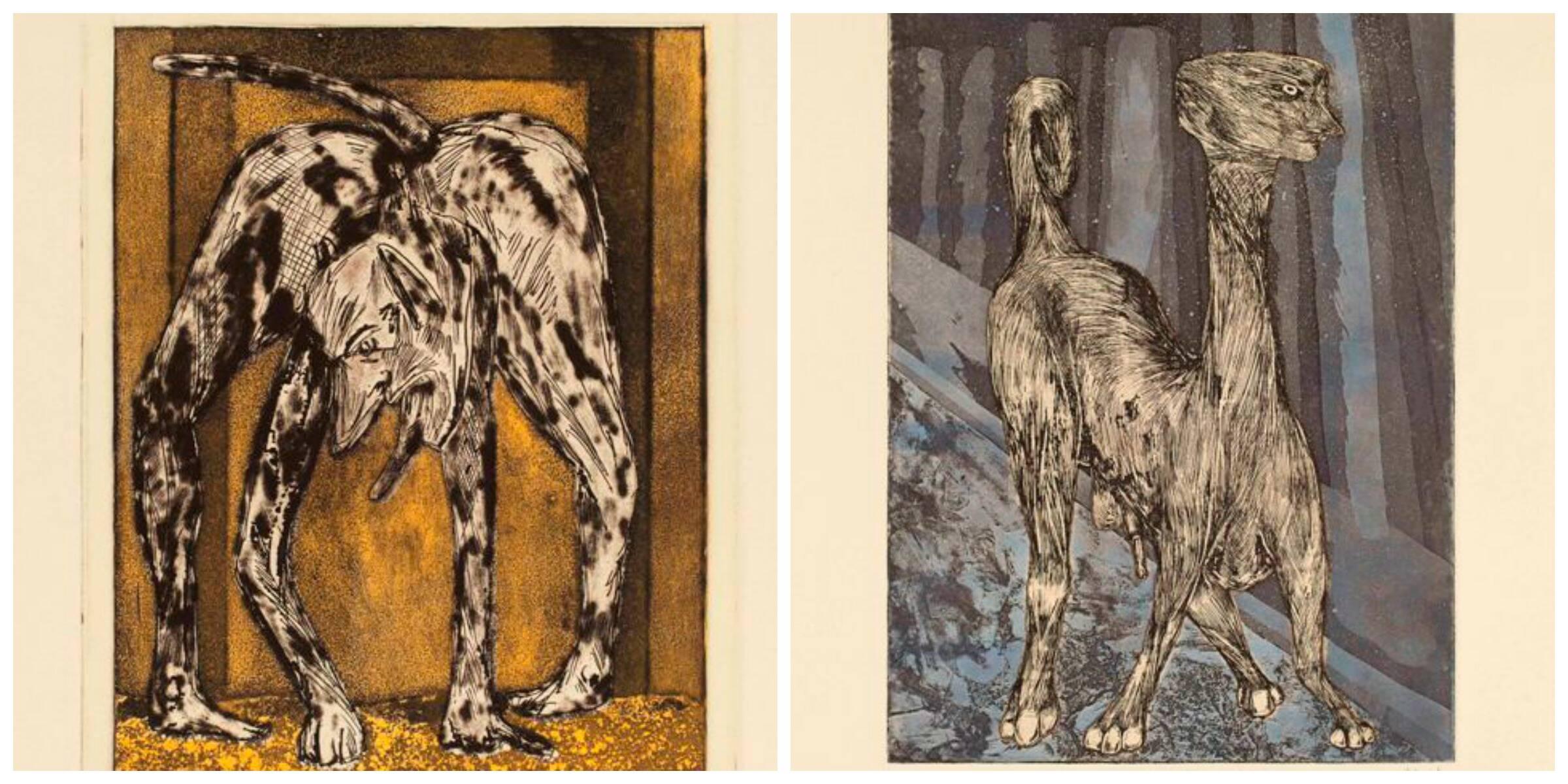 À esquerda, uma das gravuras da série Goldman; ao lado, o trabalho intitulado Young Wasp Out Looking for Trouble / Fotos: divulgação