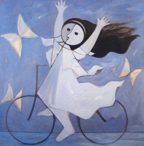 """No alto, """"Paisagem de Brodowski"""", de Cãndido Portinari; acima, """"Menina e Bicicleta"""", de Milton Dacosta, dois quadros da exposição da Galeria Ipanema / Fotos: divulgação"""