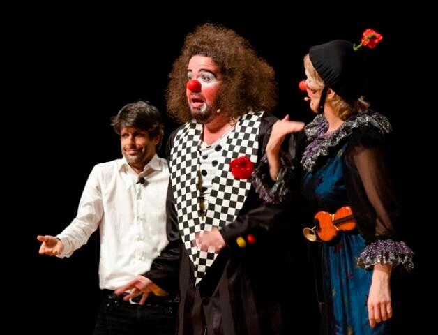 O maestro e violinista Felipe Prazeres, o ator , que interpreta o palhaço Provisório, e a atriz, que faz o papel de Matilde / Fotos: