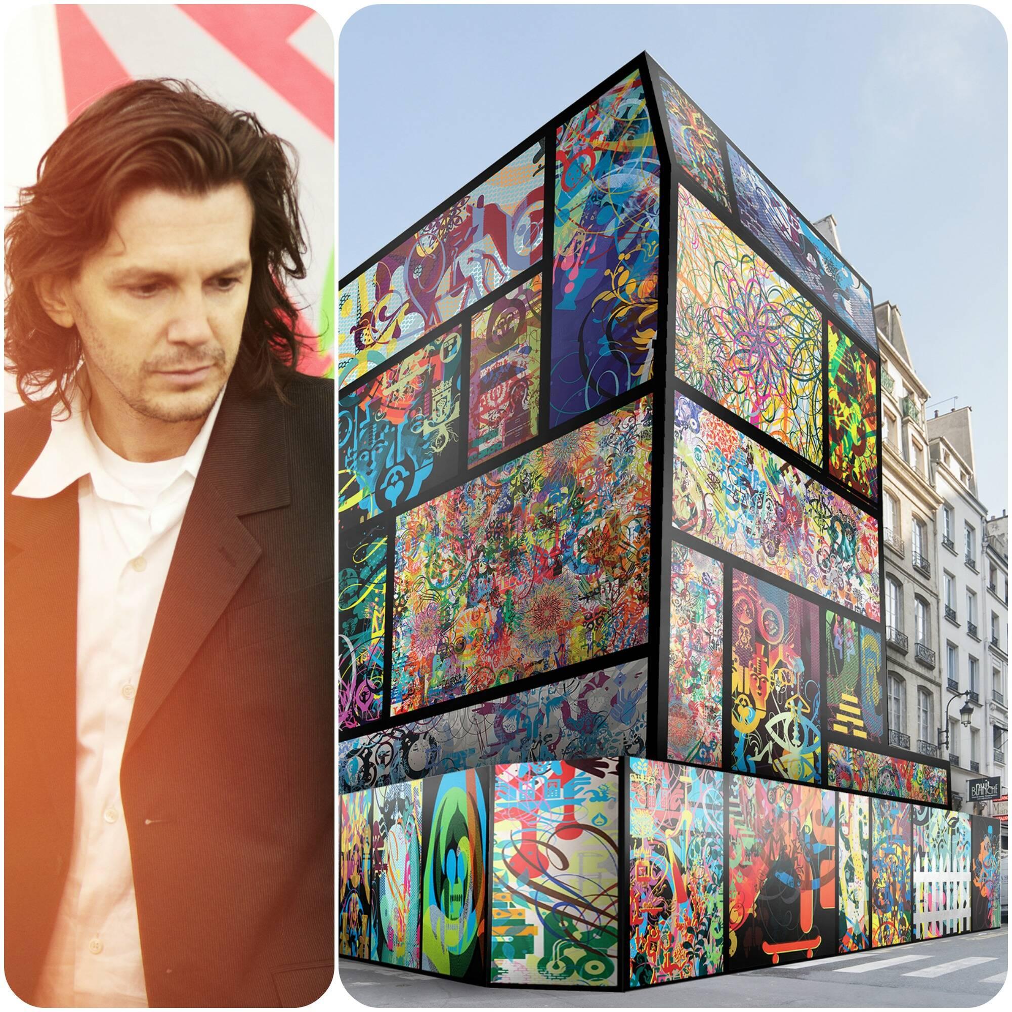 O artista Ryan McGuinness, na foto acima, e sua obra de arte de rua multicolorida, que faz parte da cultura do surfe e skate