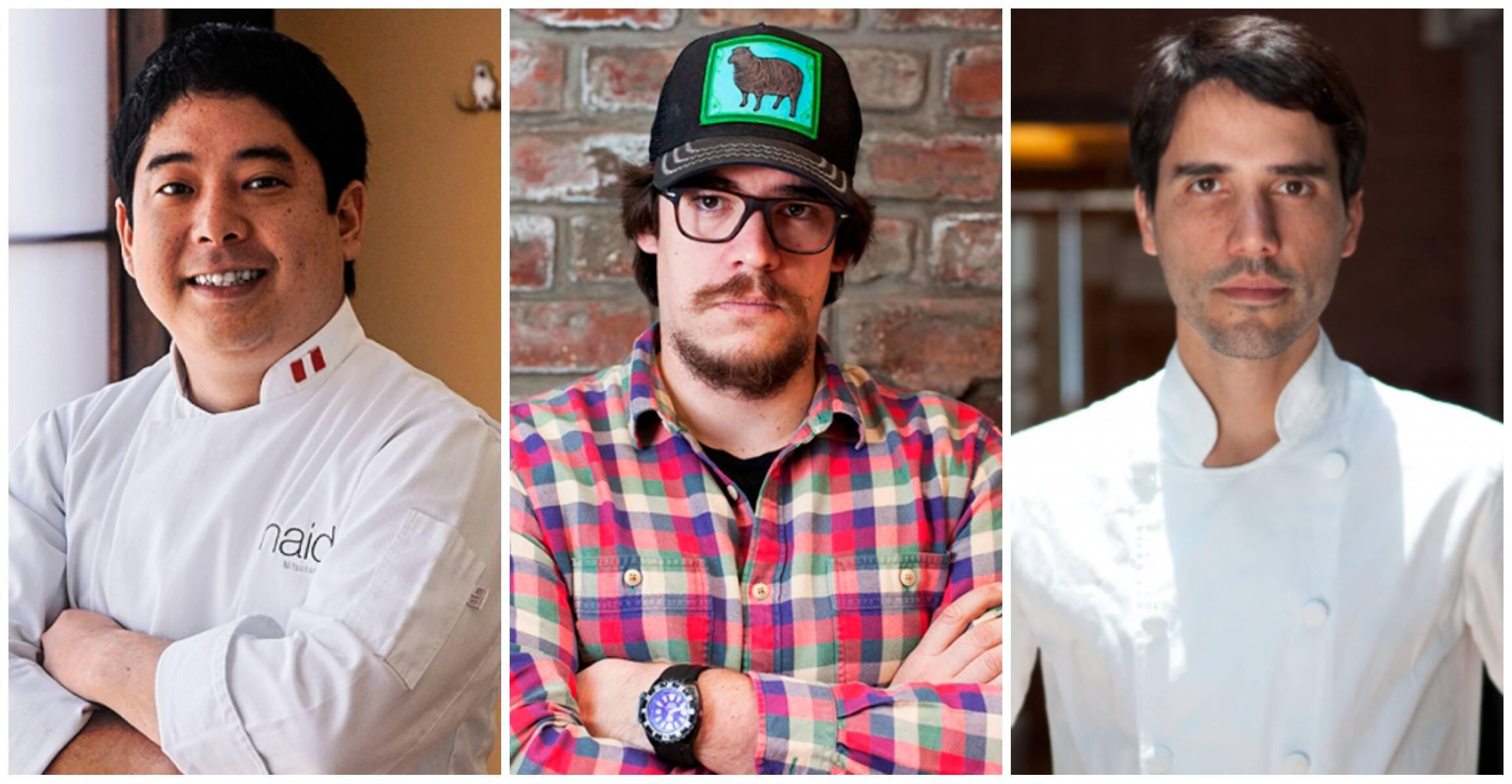 Os chefs Mitsuharu Tsumura, Renzo Garibaldi e Virgilio Martinez, estrelas do jantar beneficente do dia 3 de maio, em São Paulo/ Fotos: divulgação