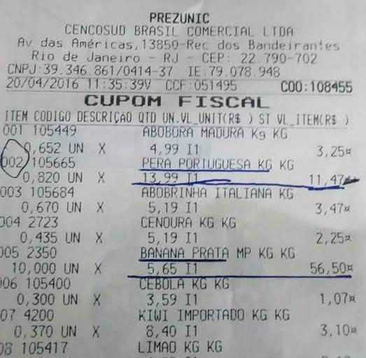 Nota da compra, nesta quarta-feira (20/04), num supermercado do Recreio: caixa multiplicou por dez o valor do quilo da banana / Foto: divulgação