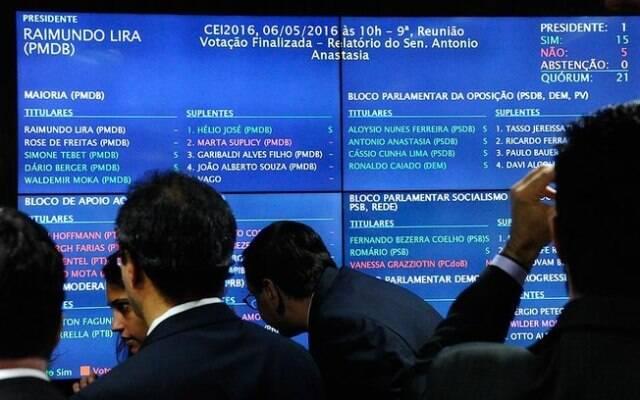 O placar eletrônico que registrou a votação de 15 x 5, pela votação do impeachment de Dilma no plenário do Senado / Foto: IG
