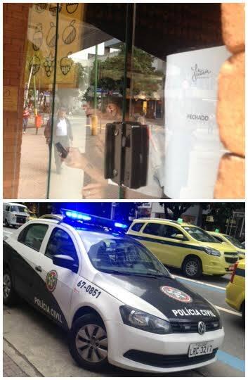 Ipanema na tarde desta quarta-feira (25/05): loja Fruteria e carro da polícia na porta