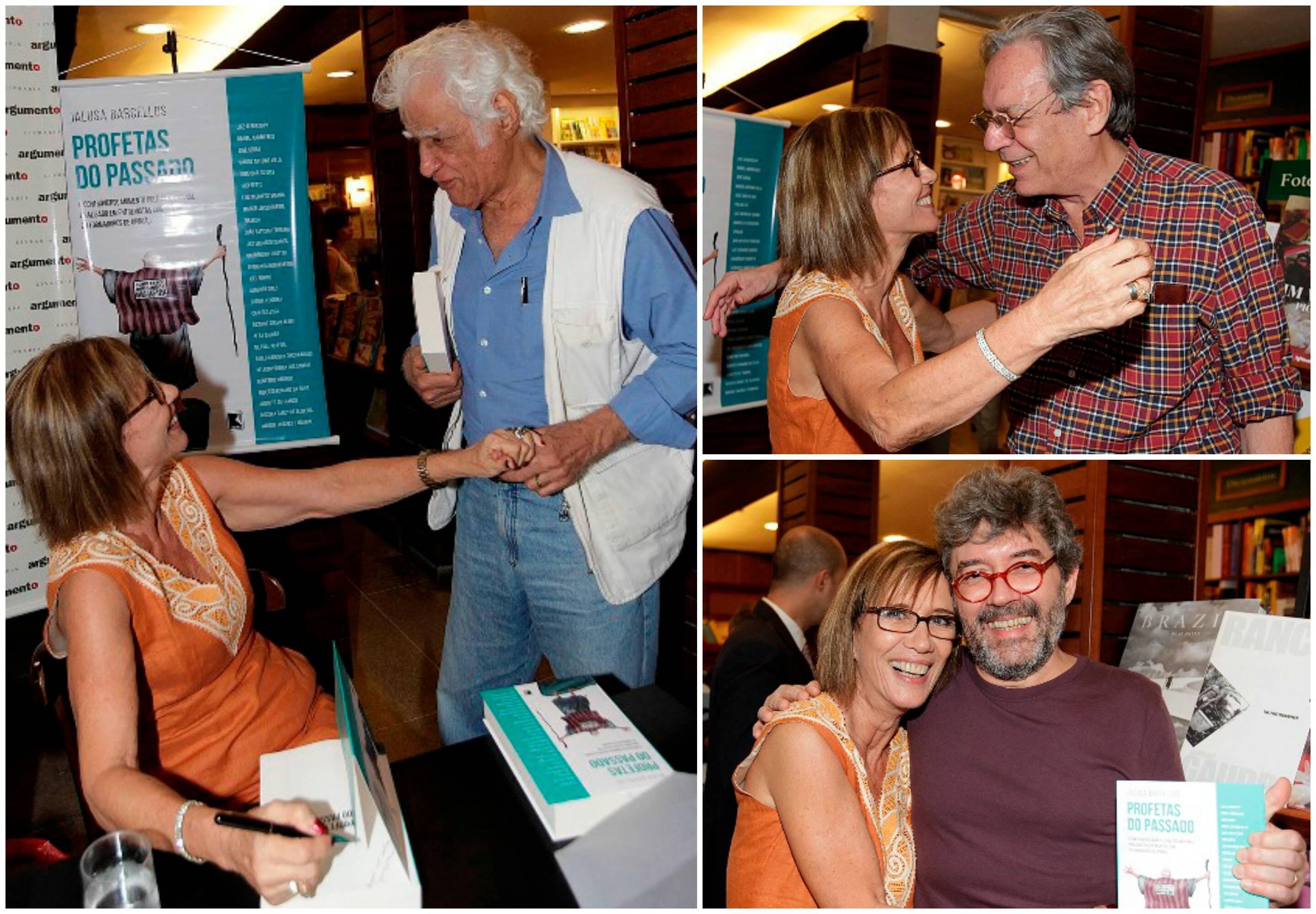 No alto, a autora Jalusa Barcelos com Luiz Alberto Py, à esquerda; ao lado, ela e Zuenir Ventura; acima, em sentido horário, com Ziraldo, Paulo Caruso e Aroeira / Fotos: Vermelho