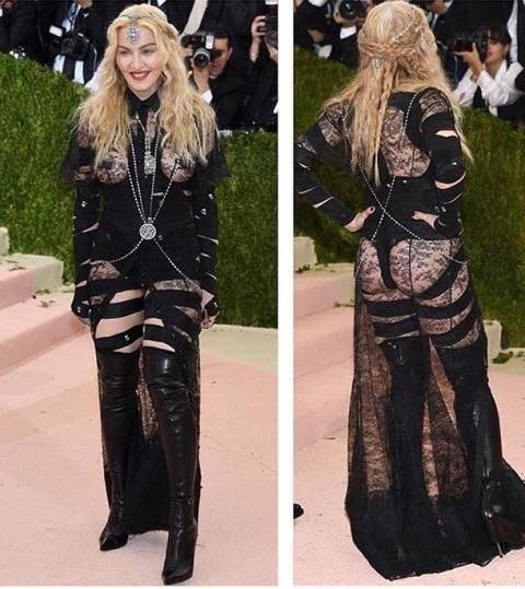 Madonna frente e verso: o modelito em questão leva a assinatura Givenchy / Foto: reprodução da internet