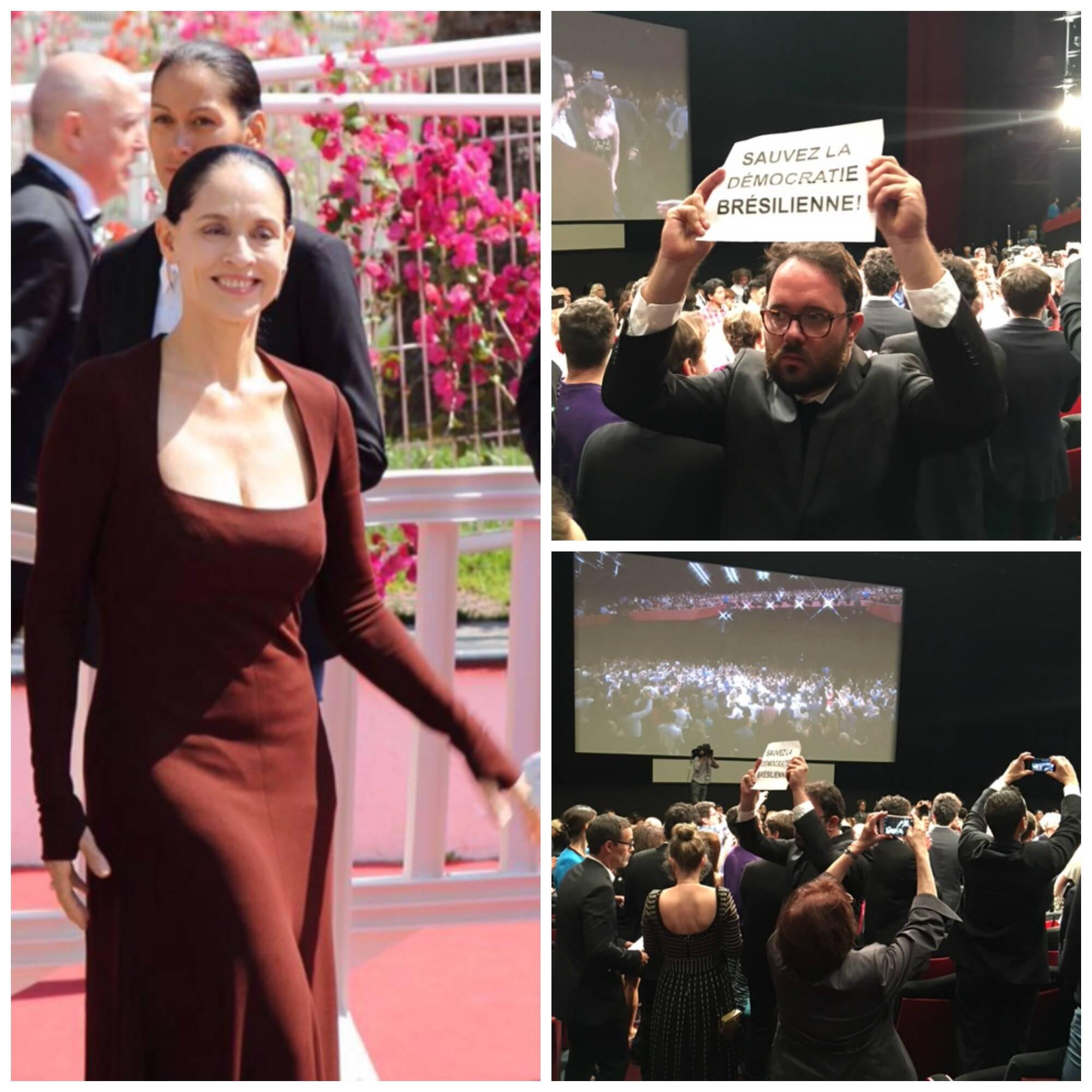 Sonia Braga no tapete vermelho, de Narciso Rodriguez, e os protestos contra o governo em exercício de Michel Temer / Fotos: divulgação