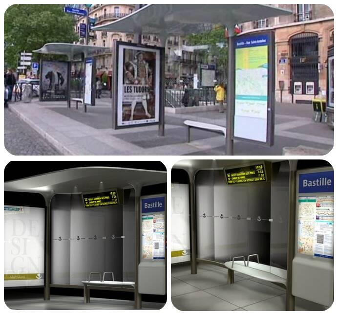 Novas paradas de ônibus em Paris que têm até tomadas para carregar celulares