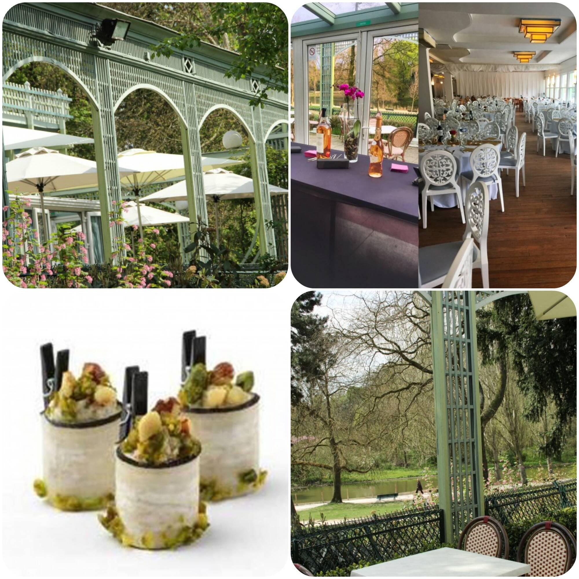 O restaurante  Chalet du Lac chega no Bois de Vincennes, perto do refrescante Lac de Saint Mandé, em Paris.