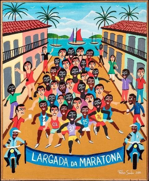 """Quadro """"A largada da maraton"""", do pintor Fábio Sombra, uma das telas da exposição """"Jogando com as cores naïf"""" / Foto: divulgação"""