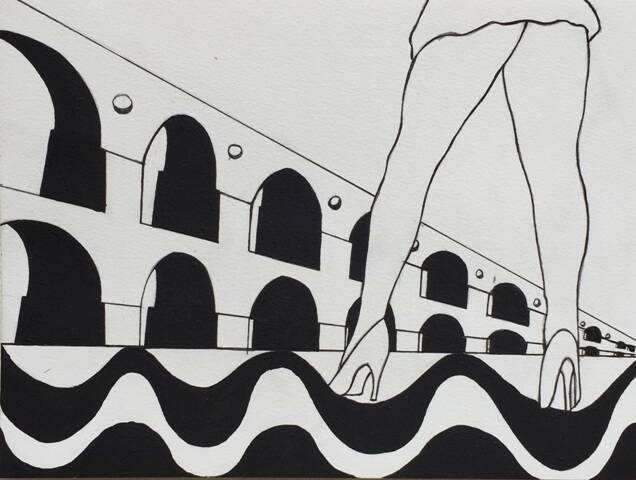 No alto, painel da artista plástica Claudia Lyrio, retratando a praia do Recreio dos Bandeirantes; acima, desenho de Jean Araújo, unindo imagens da Lapa e do calçadão de Copacabana / Fotos: divulgação