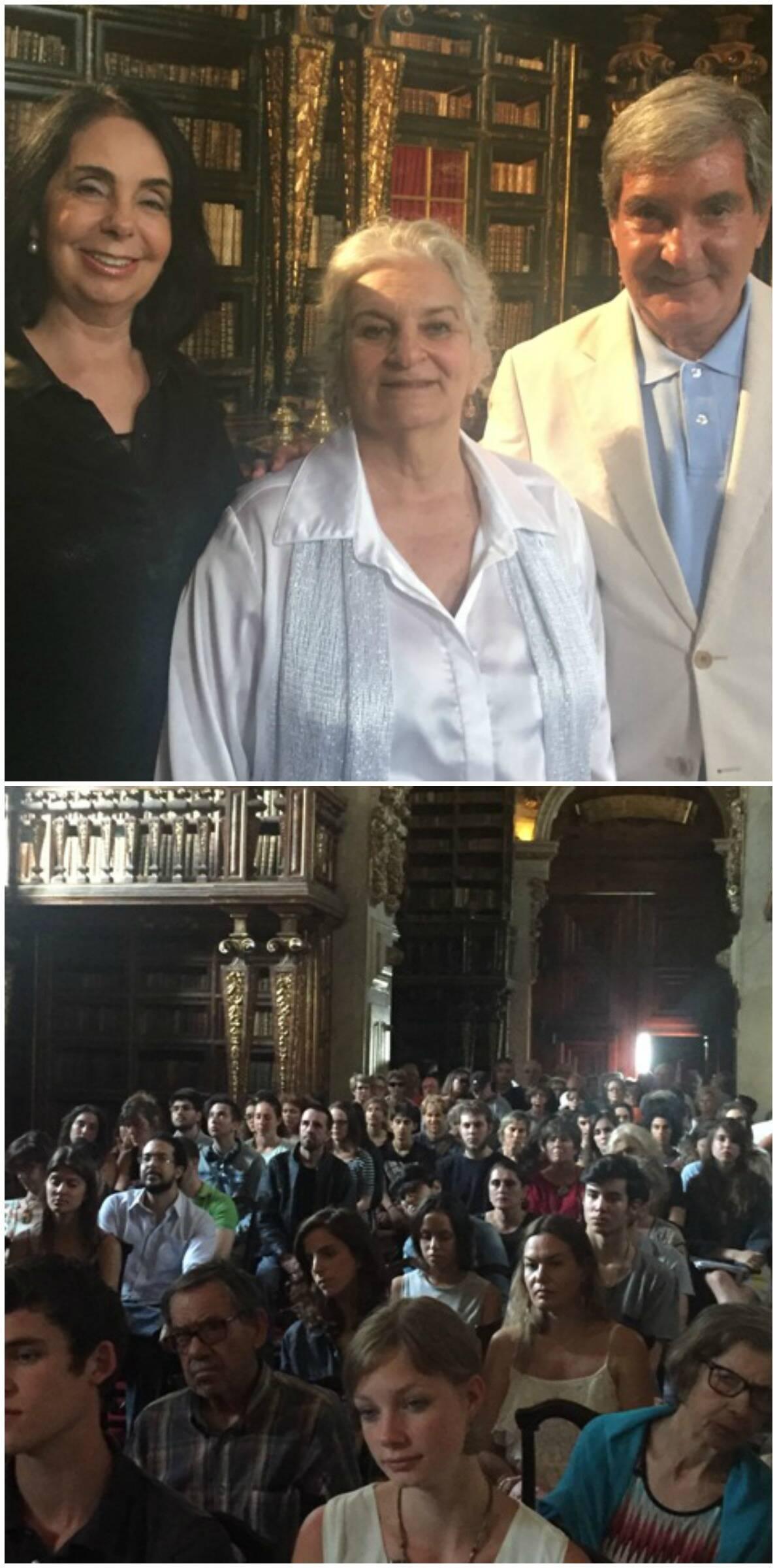No alto, Maria Ignez e Sergio Costa e Silva com a pianista Ana Maria Brandão, no centro; acima, o salão lotado da biblioteca de Coimbra, no recital desta quinta-feira (09/06) / Fotos: divulgação